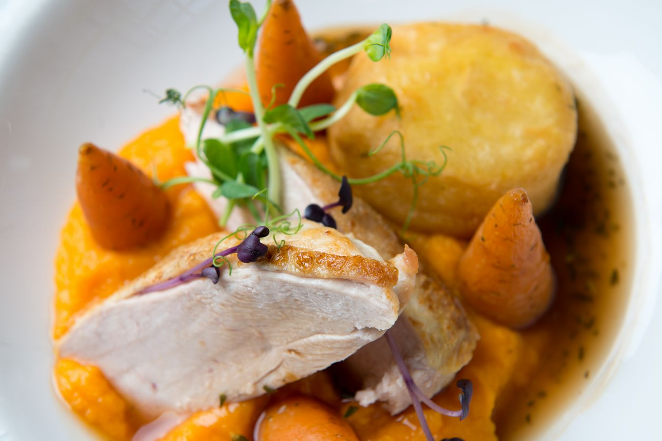 Chicken with fondant potato