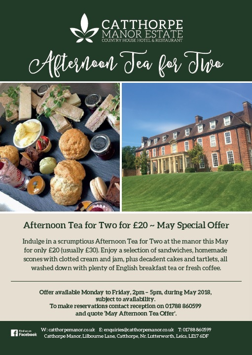 Afternoon Tea for Two. May Special Offer