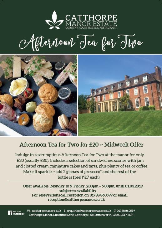 Afternoon Tea for Two for £20 January & February 2019